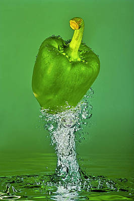 Green Pepper Splash Poster by Travel Images Worldwide