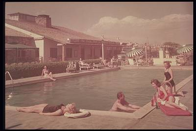 Group Lounging Around Hotel Pool Poster by Archive Holdings Inc.