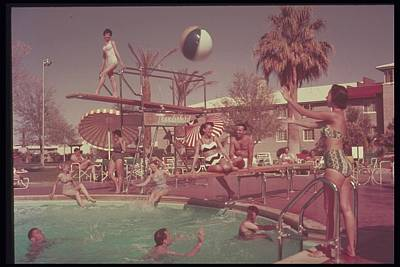 Group Swimming At Hotel Pool, 1950s Poster by Archive Holdings Inc.