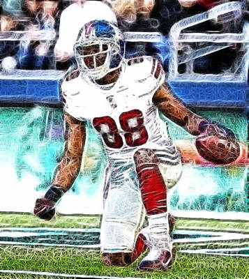 Hakeem Nicks - Sports - Football Poster by Paul Ward