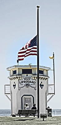 Half Mast At Laguna Beach  Poster by Gwyn Newcombe