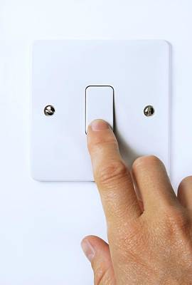 Hand Operating Light Switch Poster by Cordelia Molloy