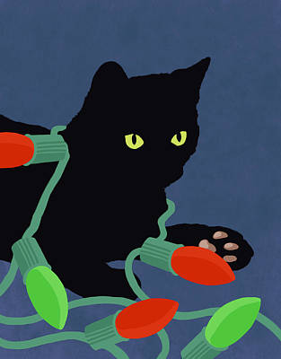 Hand Painted Cat And Christmas Lights Illustration Poster by Don Bishop