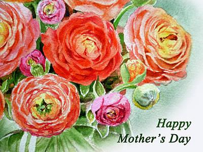 Happy Mothers Day Card Poster by Irina Sztukowski