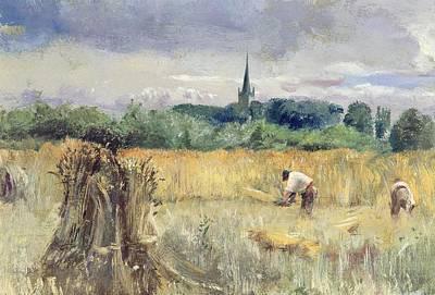 Harvest Field At Stratford Upon Avon Poster by John William Inchbold