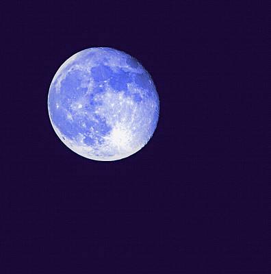 Harvest Moon - Blue Moon Poster by Steve Ohlsen