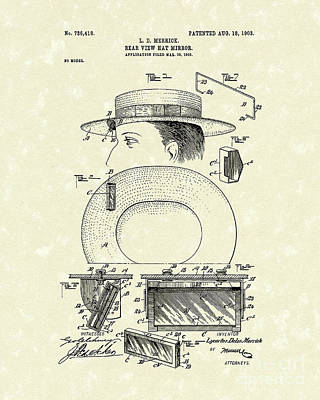 Unique View Poster featuring the drawing Hat Mirror 1903 Patent Art by Prior Art Design