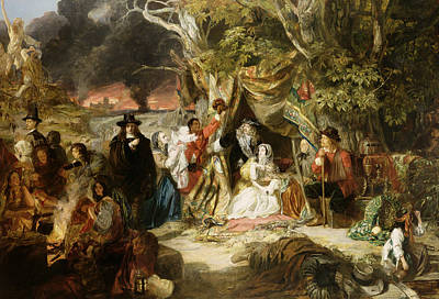 Highgate Fields During The Great Fire Of London In 1666 Poster by Edward Matthew Ward