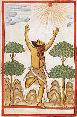 Hindu Ascetic Adoring Sun, India, 1600s Poster by Photo Researchers