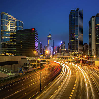 Hong Kong City Center At Night Poster by Coolbiere Photograph