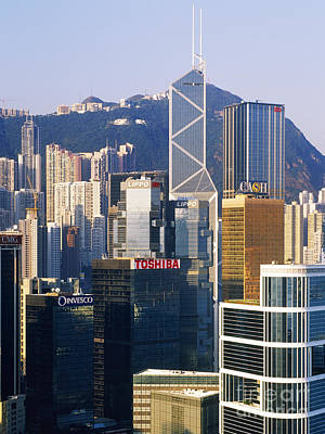Hong Kong Skyline Looking Towards Victoria Peak Poster by Jeremy Woodhouse