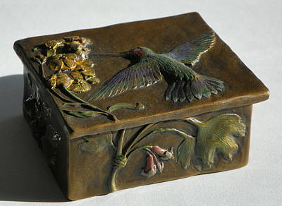 Hummingbird Box With Painted Patina - Wild Currant Side Poster by Dawn Senior-Trask