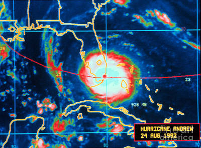 Hurricane Andrew, Infrared Image, 1992 Poster by Science Source