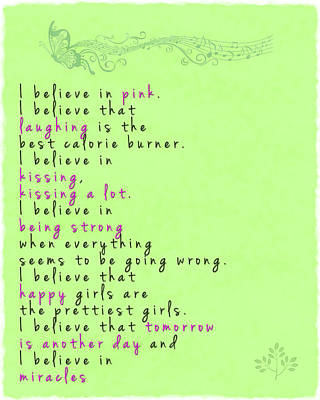 I Believe In Pink - Audrey Hepburn Poster by Georgia Fowler