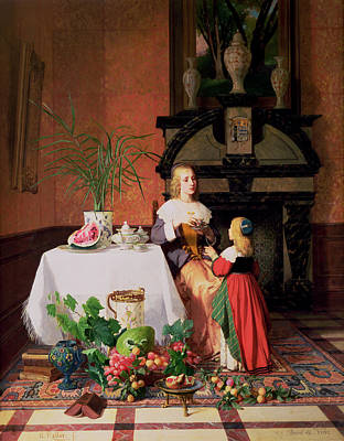 Interior With Figures And Fruit Poster by David Emil Joseph de Noter