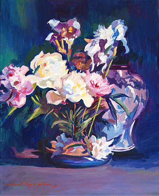 Iris Peonies And Chinese Vase Poster by David Lloyd Glover