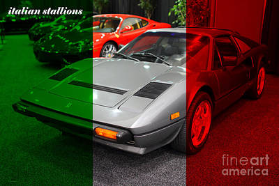 Italian Stallions . 1984 Ferrari 308 Gts Qv Poster by Wingsdomain Art and Photography