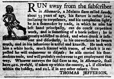 Jefferson: Runaway Slave Poster by Granger
