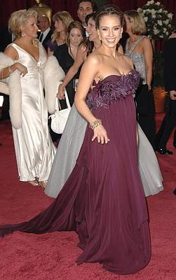 Jessica Alba Wearing A Marchesa Dress Poster by Everett