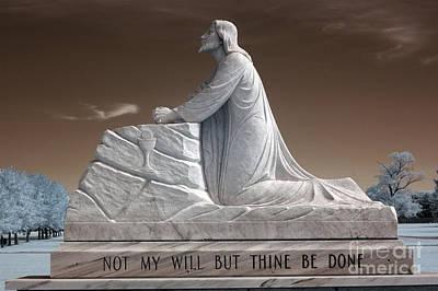 Jesus Kneeling Monument - Religious Christian Art - Jesus Praying Poster by Kathy Fornal