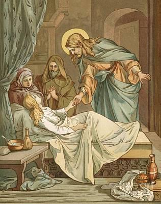 Jesus Raising Jairus's Daughter Poster by John Lawson