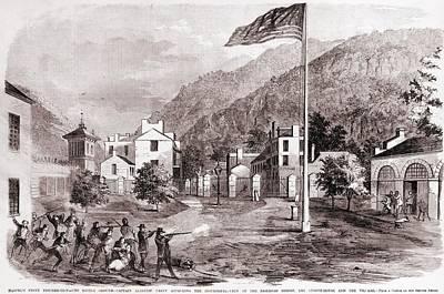 John Browns Harpers Ferry Insurrection Poster by Everett