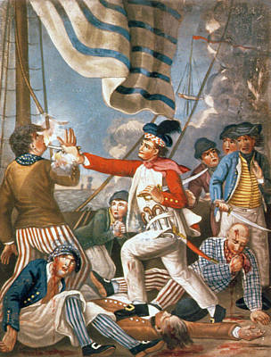 John Paul Jones Shooting A Sailor Who Had Attempted To Strike His Colours In An Engagement Poster by John Collet