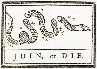 Join Or Die French And Indian War Poster by Photo Researchers