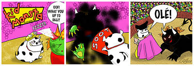 Kid Monsta Triptych 10 Poster by Kev Moore
