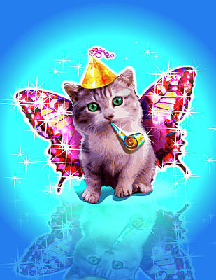 Kitten With Party Horn Blower, Party Hat And Wings Poster by New Vision Technologies Inc