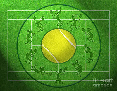 Kokopelli Tennis Grass Poster by Chris Rhynas
