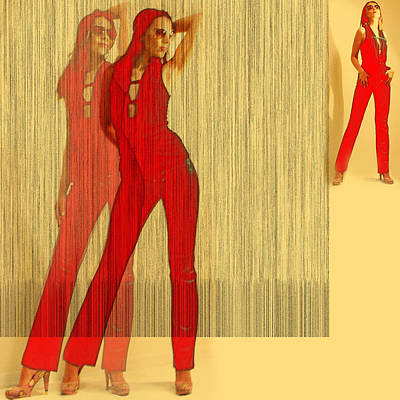 Kristine In Red Poster by Naxart Studio