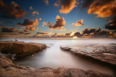 La Jolla Reef Sunset 4 Poster by Larry Marshall