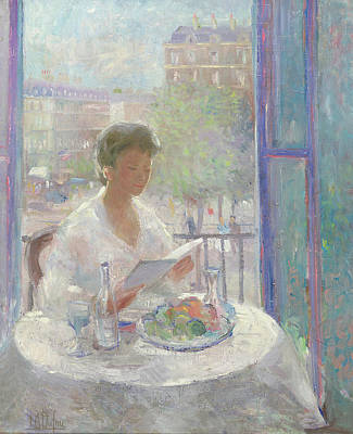Lady Reading At An Open Window  Poster by Clementine Helene Dufau