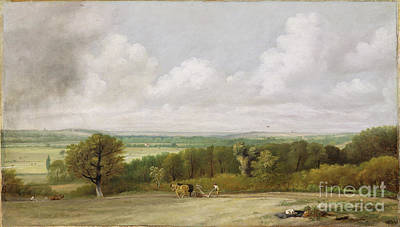 Landscape - Ploughing Scene In Suffolk Poster by John Constable