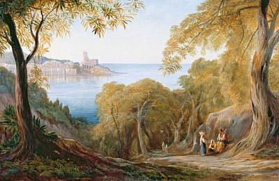 Landscape With View Of Lerici Poster by Edward Lear