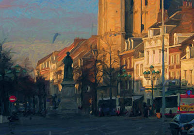 Late Autumn Light In The Boschstreet Poster by Nop Briex