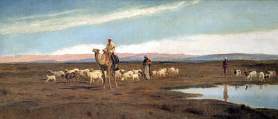 Leading The Flock To Pasture Poster by Frederick Goodall