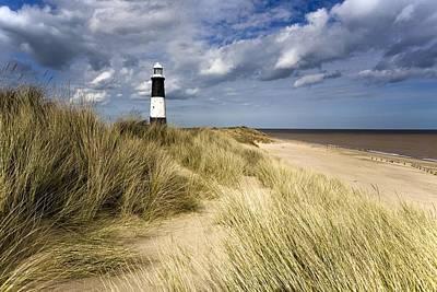 Lighthouse On Beach, Humberside, England Poster by John Short