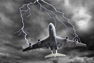 Lighting Striking An Aeroplane, Composite Poster by Victor De Schwanberg