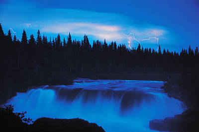 Lightning Over Pisew Falls, Manitoba Poster by Dave Reede