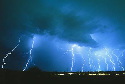 Lightning Strikes At Night In Bisbee, Arizona, Usa Poster by Keith Kent