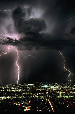 Lightning Strikes At Night In Tucson, Arizona, Usa Poster by Keith Kent