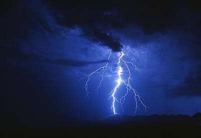 Lightning Strikes Mountain At Night, Arizona, Usa Poster by Keith Kent