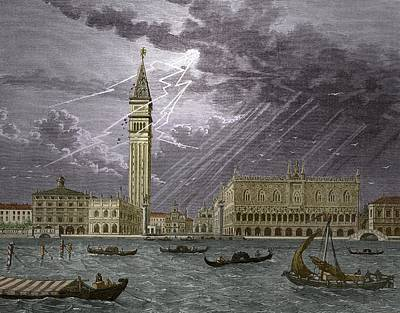 Lightning Striking St, Mark's Tower 1745 Poster by Sheila Terry