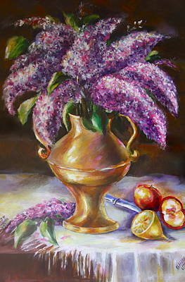 Lilacs In Vase Poster by Khatuna Buzzell