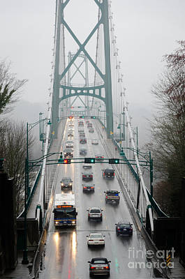 Lions Mist Lions Gate Bridge From Stanley Park Vancouver Bc Poster by Andy Smy