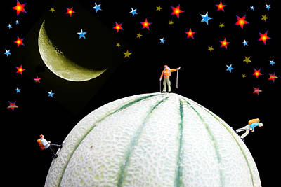 Little People Hiking On Fruits Under Starry Night Poster by Paul Ge