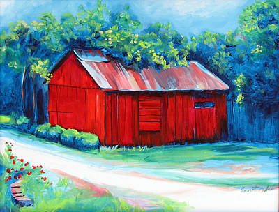 Little Red Barn Poster by Janet Oh