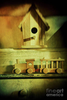 Little Wooden Train On Shelf Poster by Sandra Cunningham